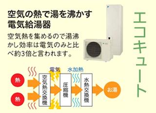 空気の熱で湯を沸かす電気給湯器「エコキュート」
